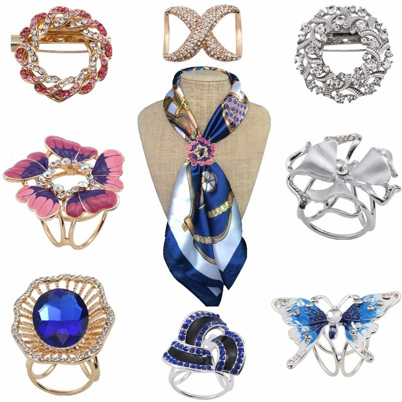 Bohemia Butterfly Brooch Scarf Buckle Bouquet Luxury Colorful Rhinestone Clip For Women Boho Christmas Xmas Jewelry