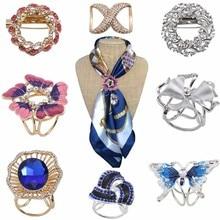 Bohemia Butterfly Brooch Scarf Buckle Bouquet Luxury Colorful Rhinestone Clip For Women Boho Christmas Xmas Jewelry