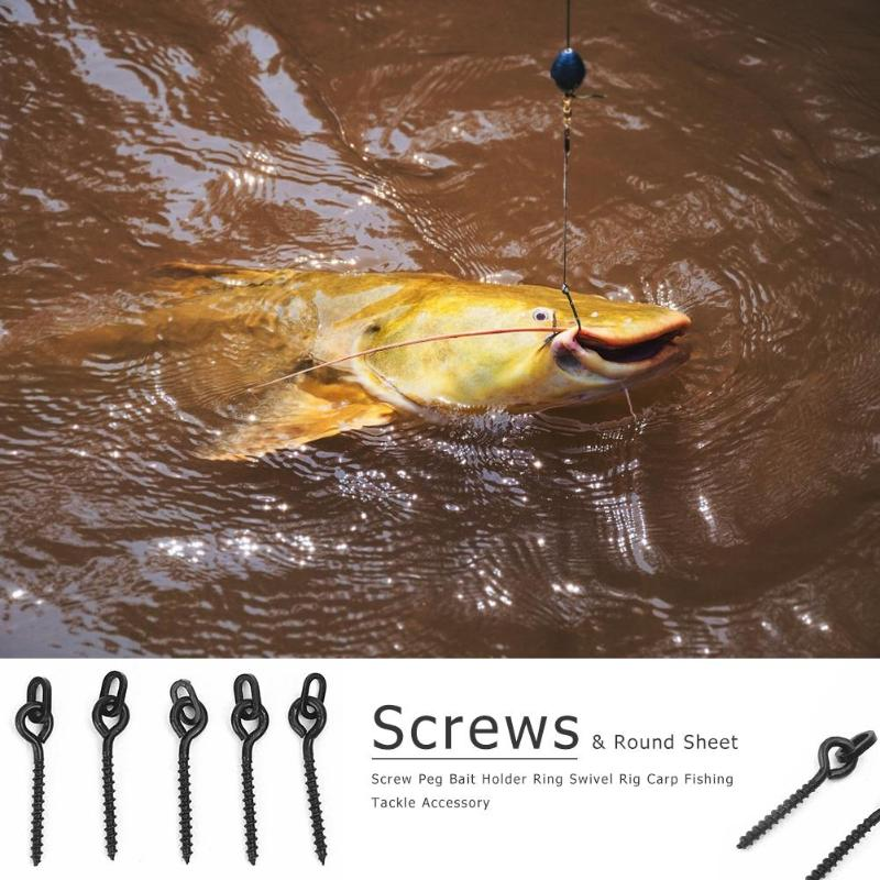 100pcs Screw Peg Bait Holder Ring Swivel Rig Carp Fishing Tackle Accessory Ultra high strength long lasting use easy to operate100pcs Screw Peg Bait Holder Ring Swivel Rig Carp Fishing Tackle Accessory Ultra high strength long lasting use easy to operate