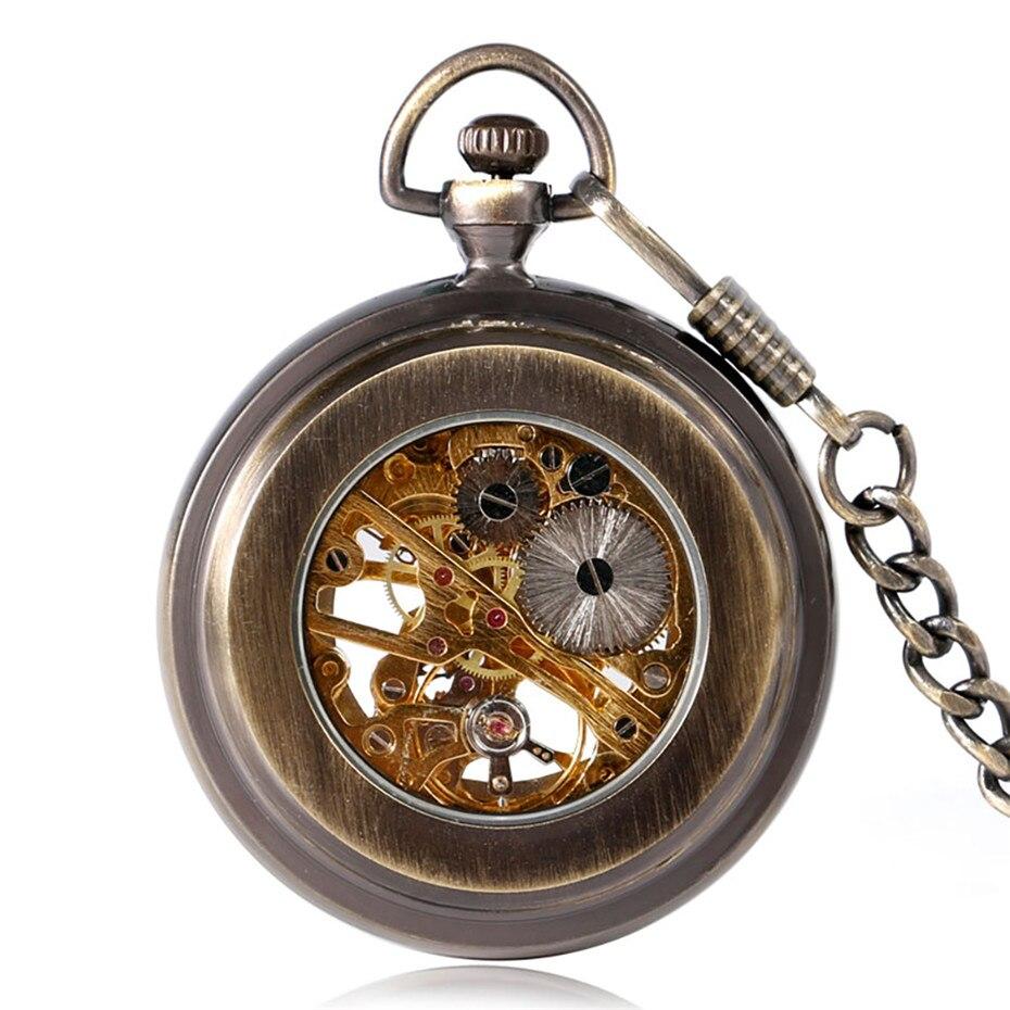 Купить с кэшбэком Steampunk Bronze Carving Roman Numerals Pocket Watch Mechanical Hand Winding Open Face Pocket Clock Gifts for Men Women reloj