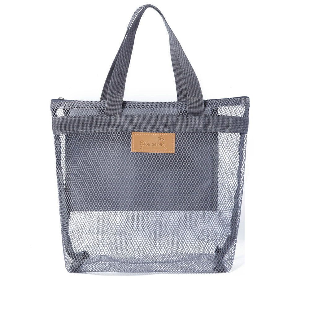 Portable Mesh Large Cosmetic Makeup Bag Women's Travel Toiletry Bags Organizer Casual Wash Beauty Case Tote Makeup Pouch Neceser
