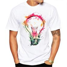 Men Short Sleeve Colorful Bulb Printing Loose T-shirt hip hop streetwear tee shirt New Summer homme men clothes Tee men colorful paint splatter tee