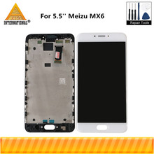 5.5 Original Axisinternational For Meizu MX6 LCD Screen Display+Touch Panel Digitizer With Frame For Meizu MX6 Display Frame