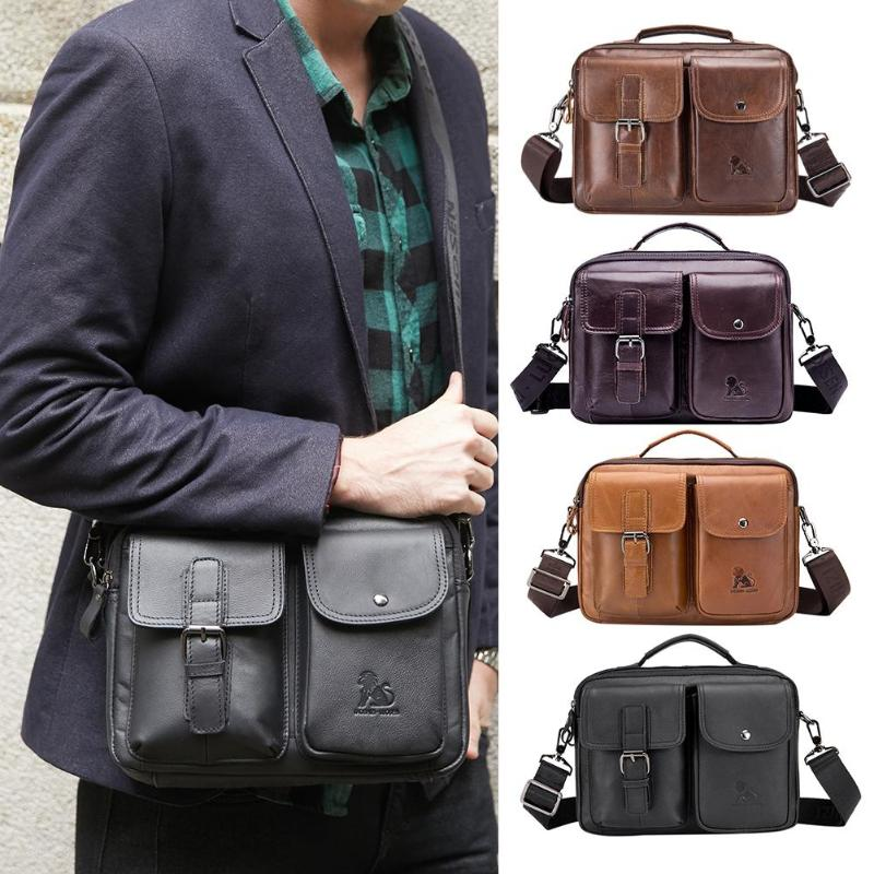 Image 2 - Men Business Briefcase Vintage Genuine Leather Laptop Messenger  Bag Cowhide Big Capacity Tote Office Handbag Men BriefcaseBriefcases