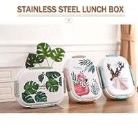 Японский зеленый левый милый олень узор коробка 304 нержавеющая сталь Ланч-бокс для детей школьная еда теплый контейнер Bento Box