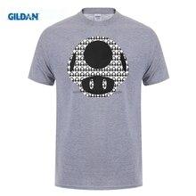 GILDAN Tshirt Summer Style Men T Shirts Game Super Mario Bros Cartoon Mushroom t shirt Made tee shirts No buckle mens uniform