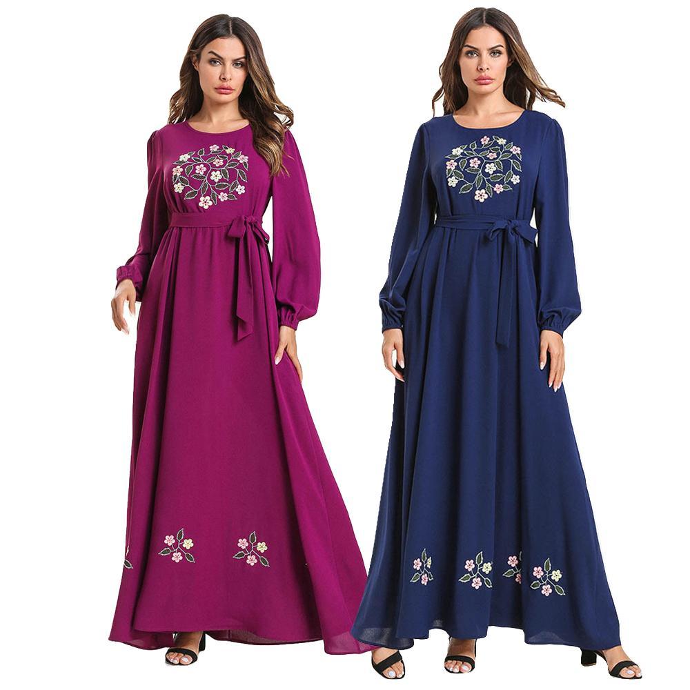 Ramadan Muslim Women Embroidery Long Maxi Dress Islamic Abaya Kaftan Robe Jilbab