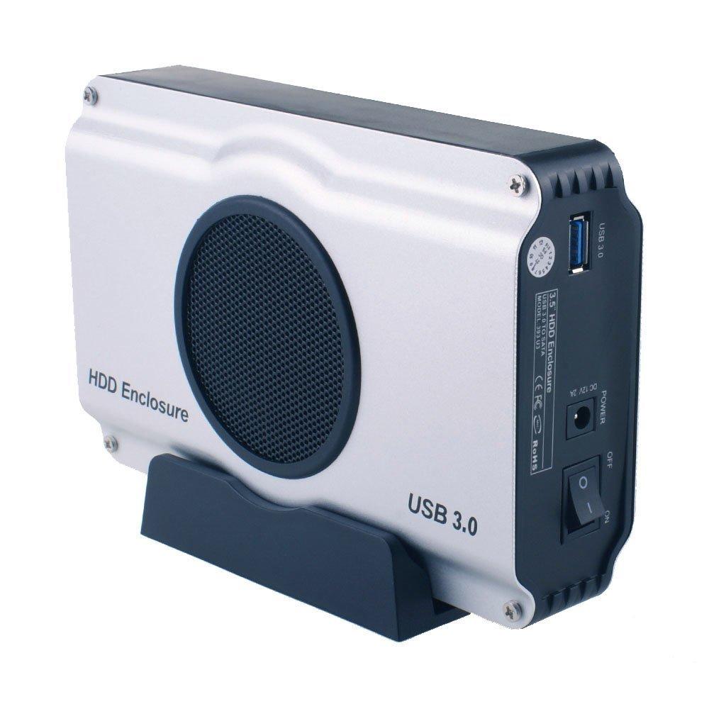 USB 3.0 To 3.5 Inch SATA I/ II/ III Aluminum Hard Drive Enclosure Case With Cooling Fan (Maximum Support 8TB)