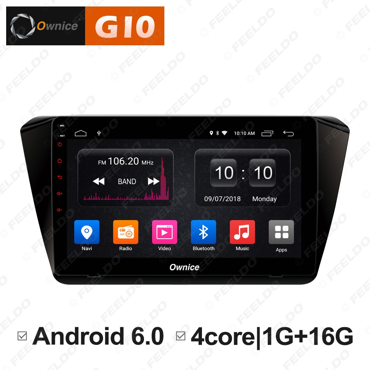 """Excellent FEELDO  10.1"""" Android 6.0 4-Core/DDR3 1G/16G/Support 4G Dongle Car Media Player With GPS/FM/AM RDS For Superb 2016 (Superb B8) 0"""