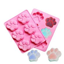 6 Cavities Cat Feet Handmade Soap Mold Silicone Fondant Cake Decoration Biscuit Chocolate Candy Mould DIY Baking Tools