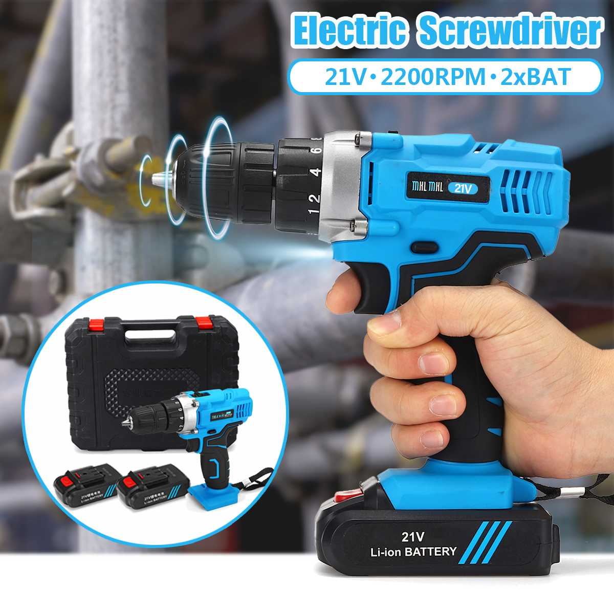 21V 2200RPM 2 Speed Electric Screwdriver Kit 100-240V With 2 Batteries Rechargeable Electric Cordless Drill Home DIY Power Tool