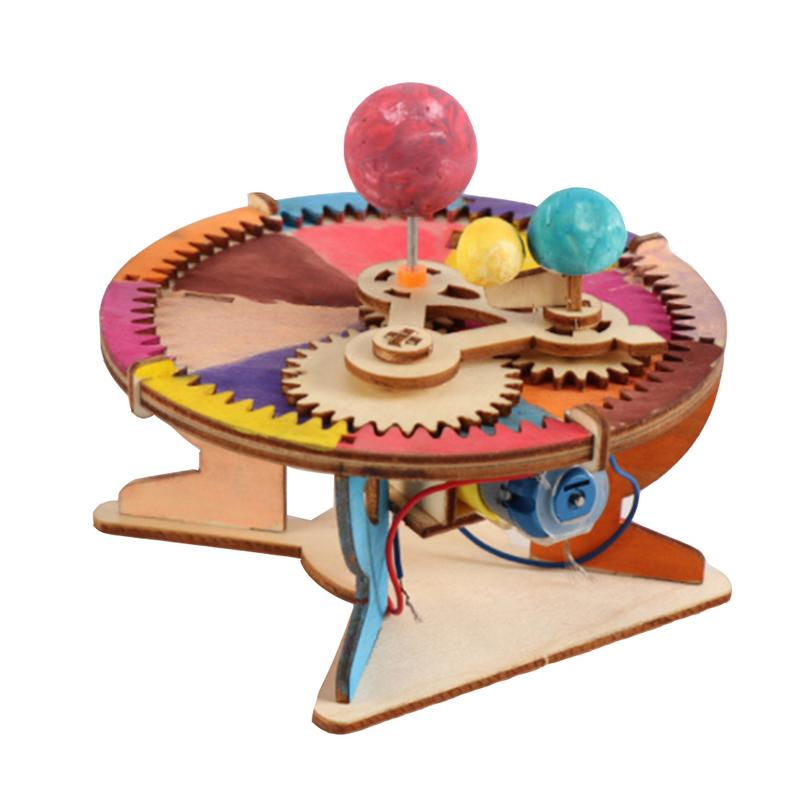 Kids DIY Wooden Science Experiment Toys Kit Three Planets Moving Model Physics Learning Educational Toys for Children Boys Block
