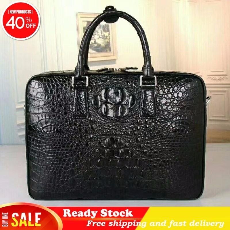 Luxury Business Style Genuine Crocodile Skin Leather Zipper Men's Large Portfolio Briefcase Handbag Male Shoulder Messenger Bag