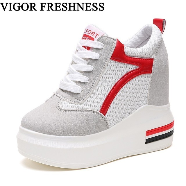 713dada59b VIGOR FRESHNESS Woman Shoes Autumn Mesh Spring Women Pumps High Platform  Shoes Sneakers White Height Increasing Shoes WY75