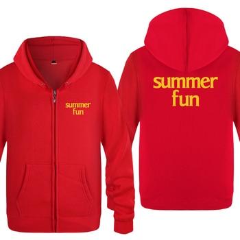 Summer Fun Beach Simple Letter Hoodies Men 2018 Men's Fleece Zipper Cardigans Hooded Sweatshirts 1