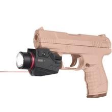 Тактический светодиодный светильник-вспышка и красный лазерный прицел комбинированный белый светильник 150 люменов Пикатинни Крепление для наружного охотничьего пистолета