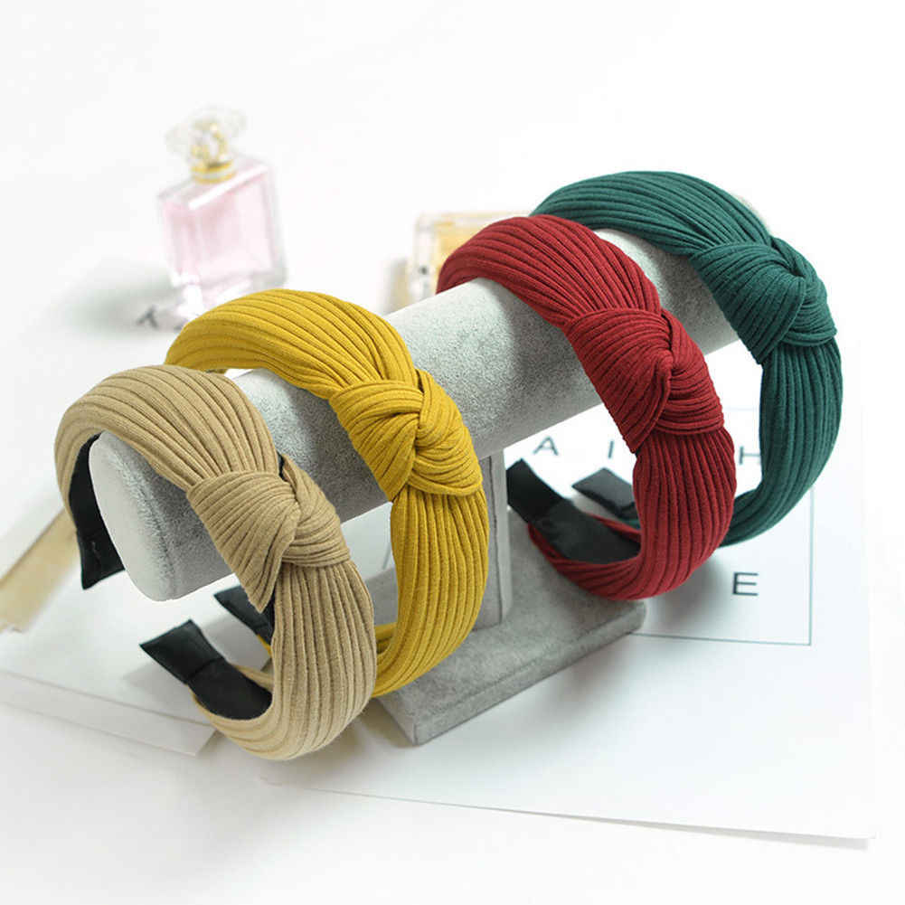 2019 Women Fashion Headband Twist Hairband Bow Knot Cross Tie Headwrap Hair Band Hoop Black Red Green Gray