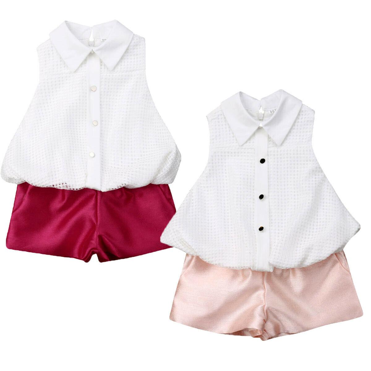 2pcs Toddler Kid Baby Girl Clothes Set Ruffle Shirt Shorts Summer Sleeveless Baby Girl Clothing Outfits Sets Casual