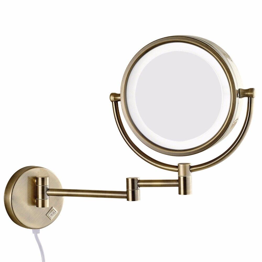Gulun Ванна настенное зеркало для макияжа со светодиодными огнями и 10X увеличительное двойное протягивать руку складное зеркало для бритья дв...