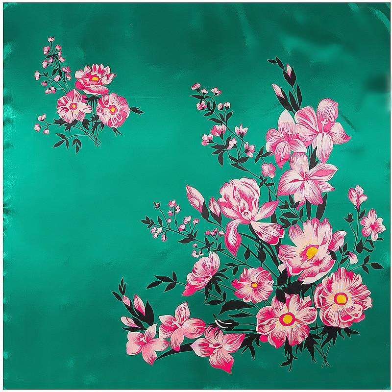 Floral Silky Bandana Hijab Scarf Neckerchief Women Spring Skulls Print Satin Silk Scarves Handkerchief Wrap Stole Green 90x90cm