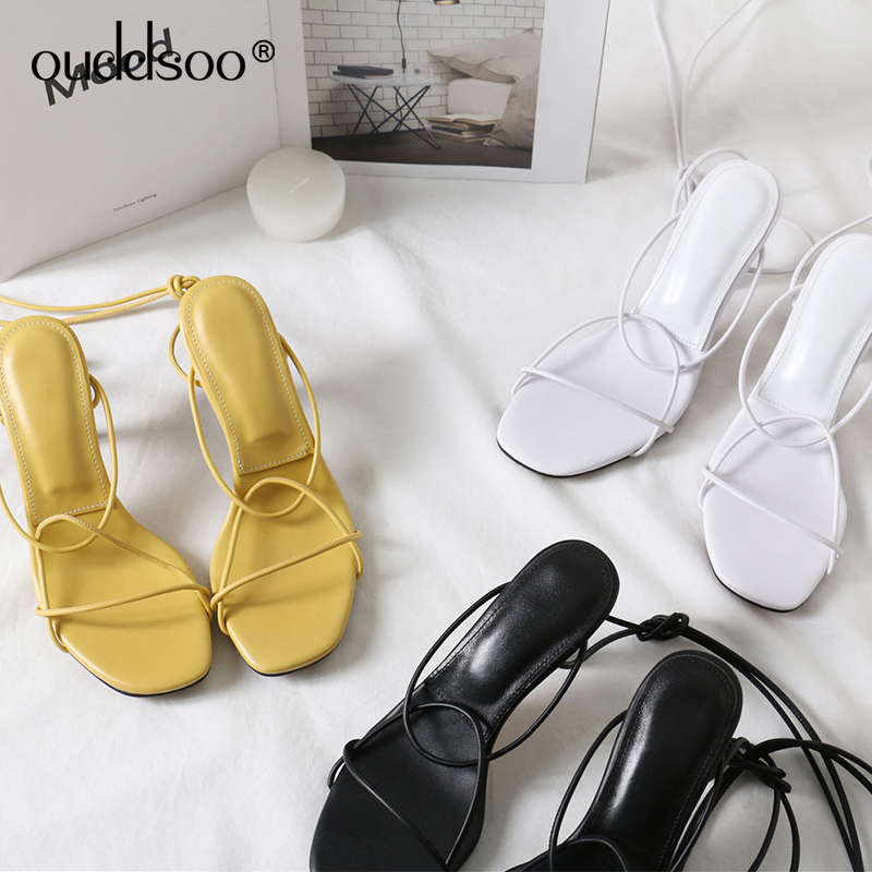 ODS Women Heeled Sandals Bandage Ankle Strap Pumps High Heels 7CM Thin Heels Lady Shoes For Women Sexy Party Yellow Sandals 42