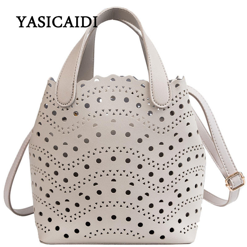 YASICAIDI 2019 Women's Summer  PU Bags Sweet Lady Style Two-piece Openwork Bag Fashion Trend Simple Shoulder Diagonal Tote Bag