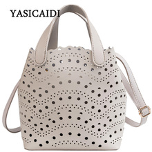 YASICAIDI 2019 Womens Summer  PU Bags Sweet Lady Style Two piece Openwork Bag Fashion Trend Simple Shoulder Diagonal Tote Bag