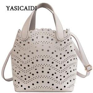 Image 1 - YASICAIDI sac fourre tout ajouré deux pièces Style femme, sac à épaule, tendance, Simple, diagonale été, 2019