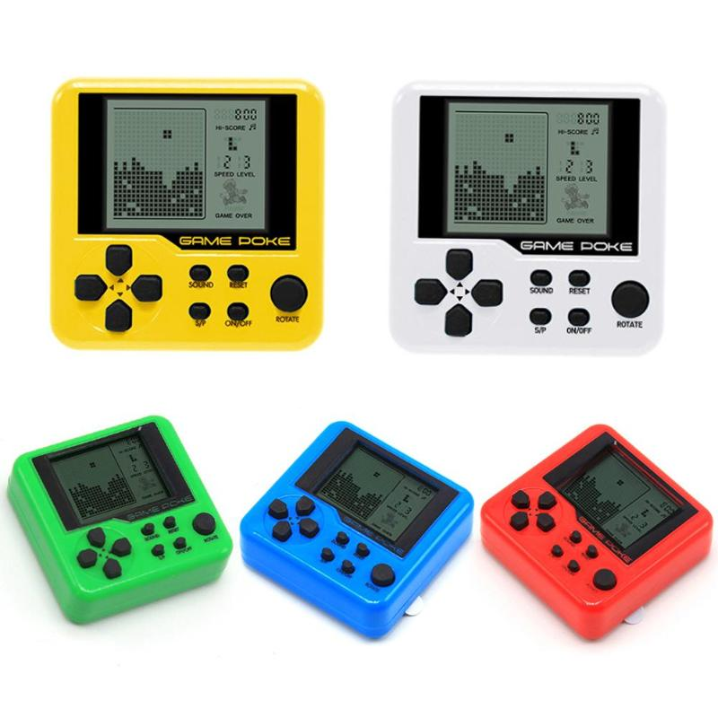 Mini Classical Game Tetris Electronic Cyber Machine Education Toys For Kids Game Keychain Gifts 4 Types Color Random