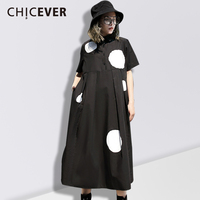 CHICEVER Spring Short Sleeve Black Women Dress Female Loose Dot Casual Women's Dresses Of The Big Size Clothes 2018 Fashion New