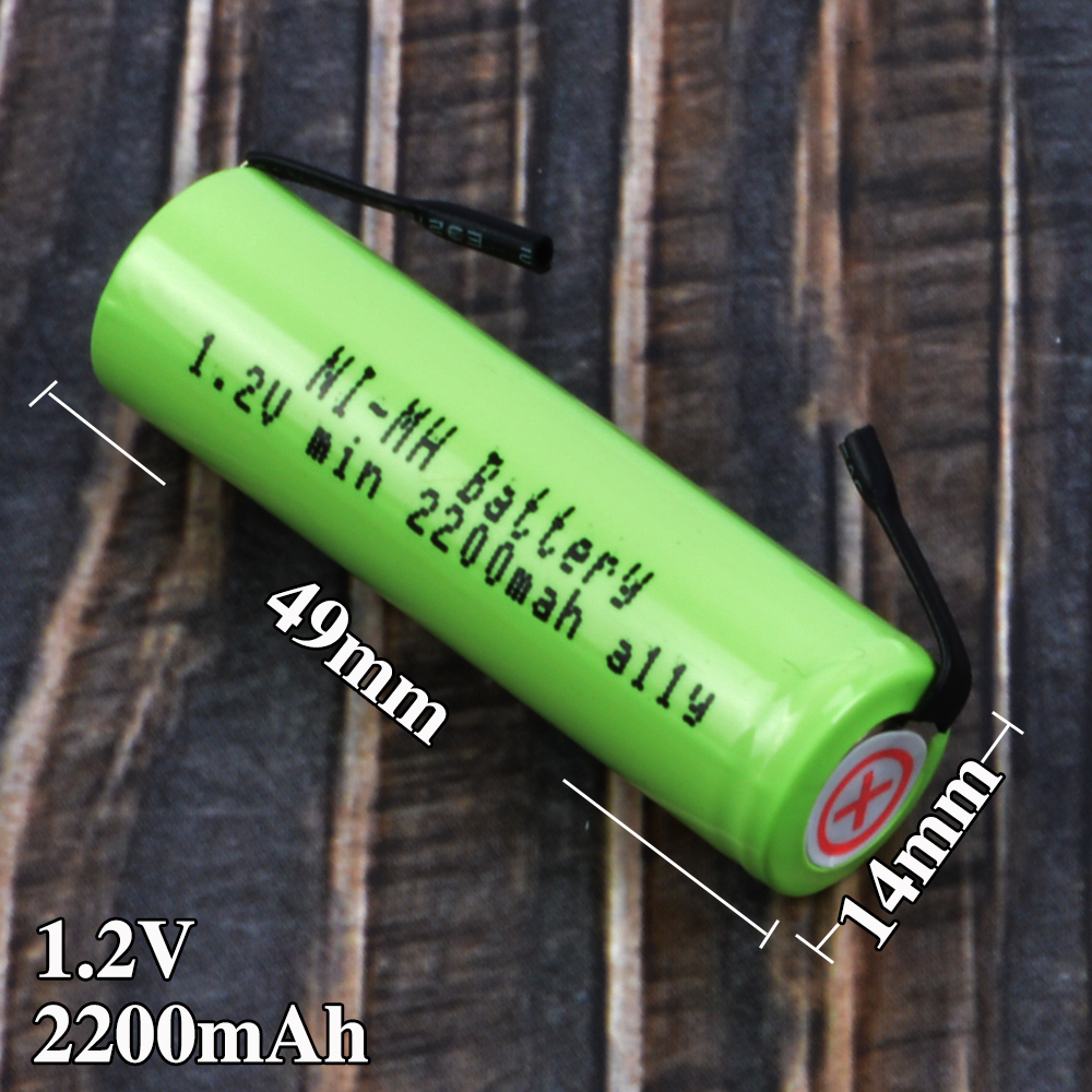 1-3PCS Ni-Mh 1.2V AA rechargeable <font><b>battery</b></font> 2200mah nimh cell with welding tabs for <font><b>Panasonic</b></font> Philips Braun <font><b>shaver</b></font> razor image