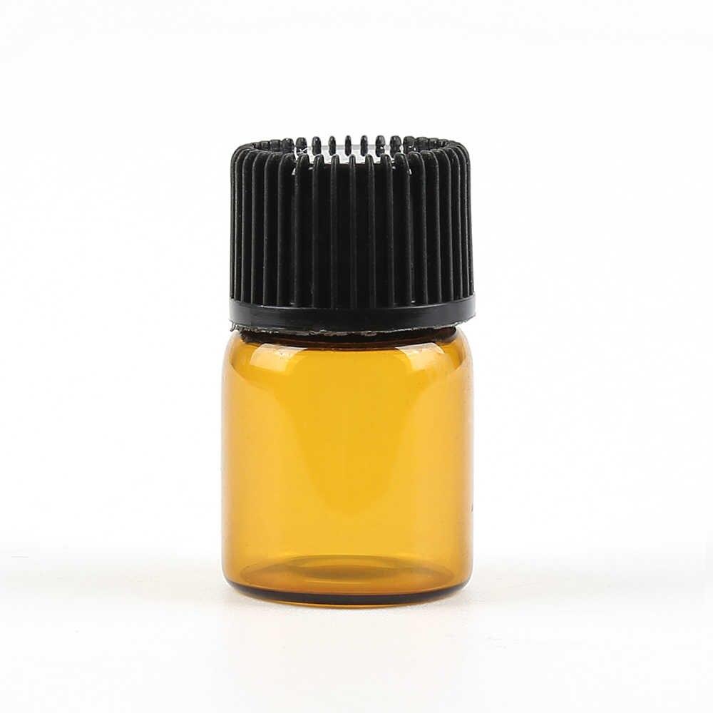 เติมเงิน 100 Pcs 2 ml Amber Glass Aromatherapy คอนเทนเนอร์ขวดเปิดอะแดปเตอร์และหมวกชาต้นไม้น้ำมันคอนเทนเนอร์ jar