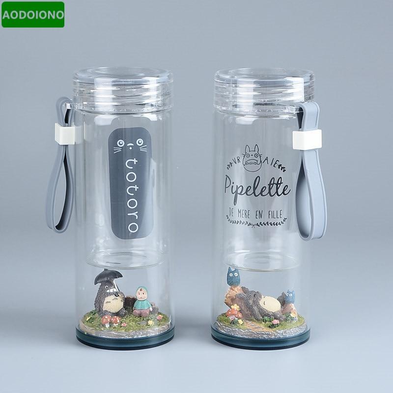 Water-Bottle TOTORO Micro-Landscape-Figure Studio-Ghibli Anime Doreamon Creative Glass