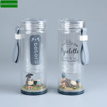 Studio Ghibli Anime Totoro Mei Mikro Lanskap Gambar Portable Kaca Botol Air 220 Ml Kreatif Doreamon 260 Ml Cangkir Air(China)