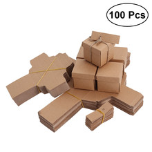 100pcs Kraft Paper Candy Boxes Vintage Treat Boxes Wedding Favors Candy Holder Bags Gift Wrap Boxes (with Tag and Hemp Rope)(China)