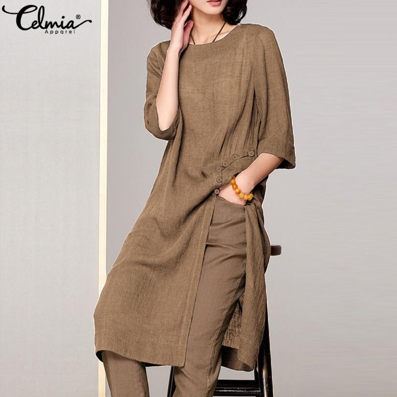 Celmia 2020 verano Camisetas largas Blusas Mujer Vintage algodón túnica camisa suelta lado abierto Casual Blusas largas de talla grande|Blusas y camisas|   - AliExpress