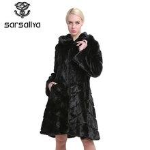 SARSALLYA Winter Russian Women's Real Natural Hooded Mink Fur Coat With Big Hood Mink Fur Coat