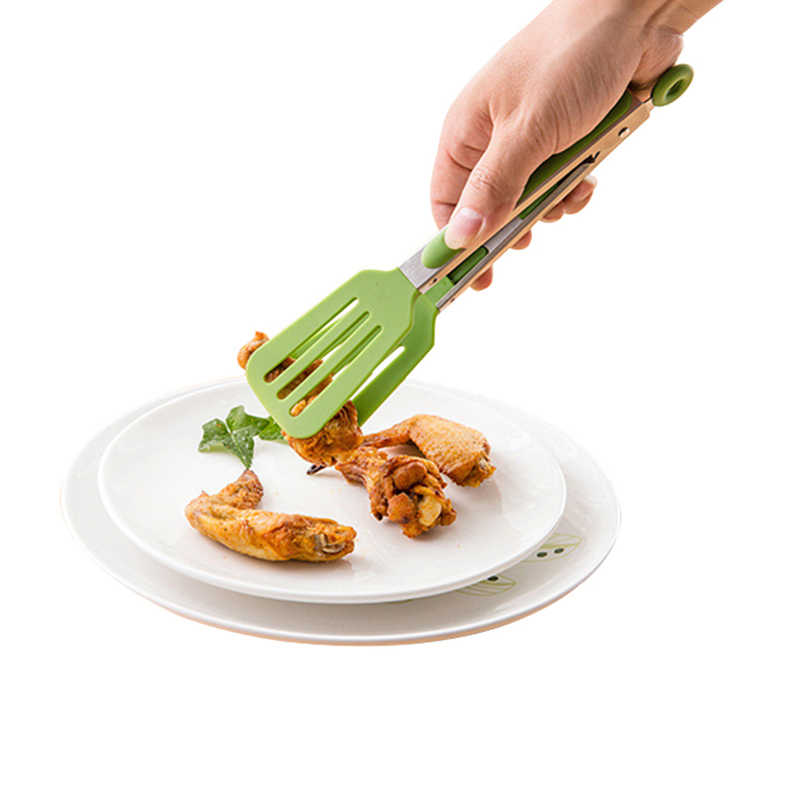 Pinze alimentari per il Barbecue Anti Calore Pizza Pane Bistecca Tong Non-stick Acciaio Inox Nylon pinze da cucina Accessori da cucina utensili
