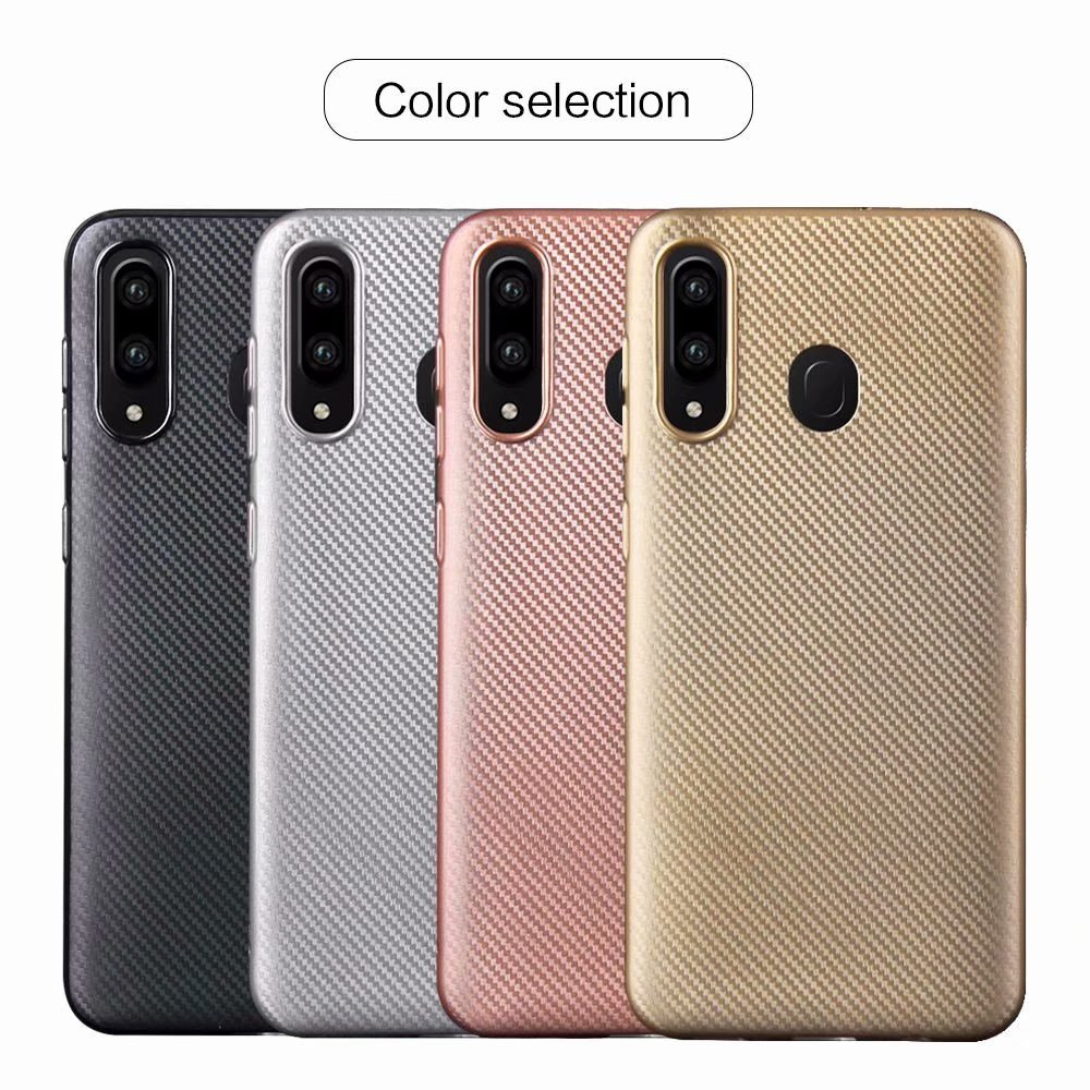 100pcs lot free shipping Carbon Fibre PU stick Soft TPU Case Cover For Samsung Galaxy M10