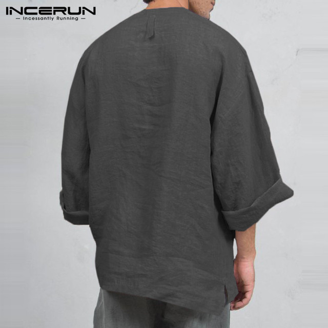 INCERUN Autumn Mens Long Sleeve T-Shirts Casual Loose Fit Deep V Neck Men Tee Tops Tunic Camisas Mens Clothing 1