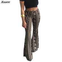 Boho Flare Pants Women Bohemian Fashion Loose Long Pant Tribal African Print Wide Leg Trousers Bell Bottom Leggings Hippie Pants 2019 ethnic snake pattern print flare pants women bohemian tribal african print long trousers bell bottom leggings hippie pants