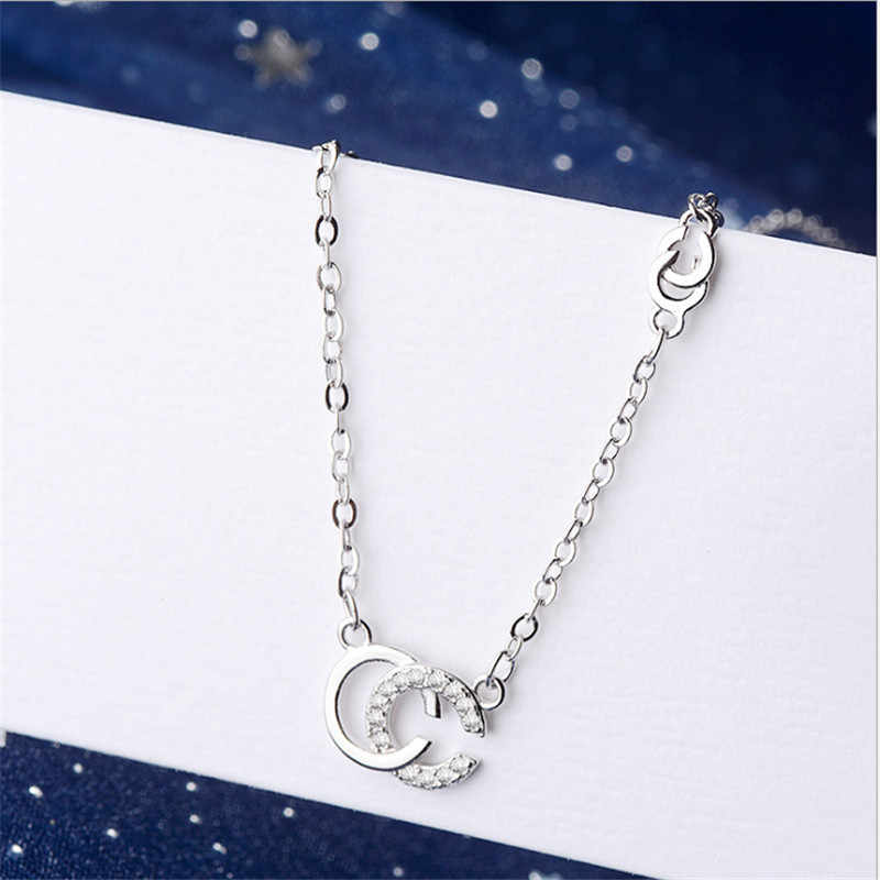 2019 Real New Moana Collares Women Necklace 925 Sterling Sliver Chain Double CC Letters Pendant Fashion Jewelry Choker P182.01