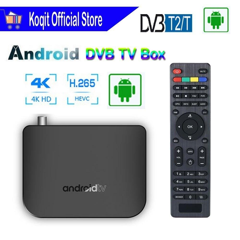 Boîtier de télévision numérique Quad core Android 7.1 récepteur de télévision terrestre DVB T2 décodeur de DVB-T2 récepteur Youtube Google 1080p 4K