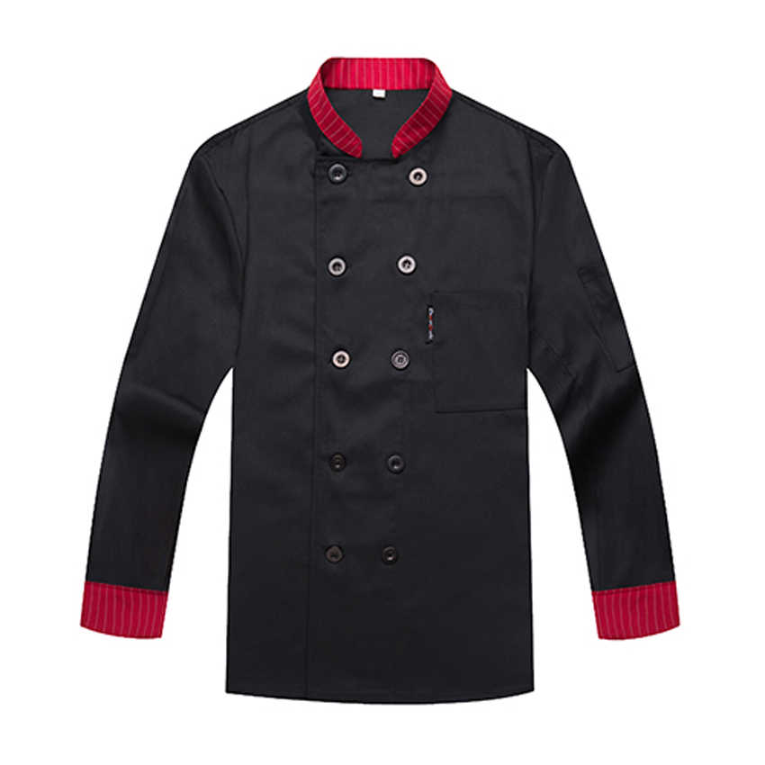 Бесплатная печать логотипов унисекс леди полный рукав Зимний Человек Куртка поварская куртка еда обслуживание Униформа Повара Мужская работа официанта рубашка