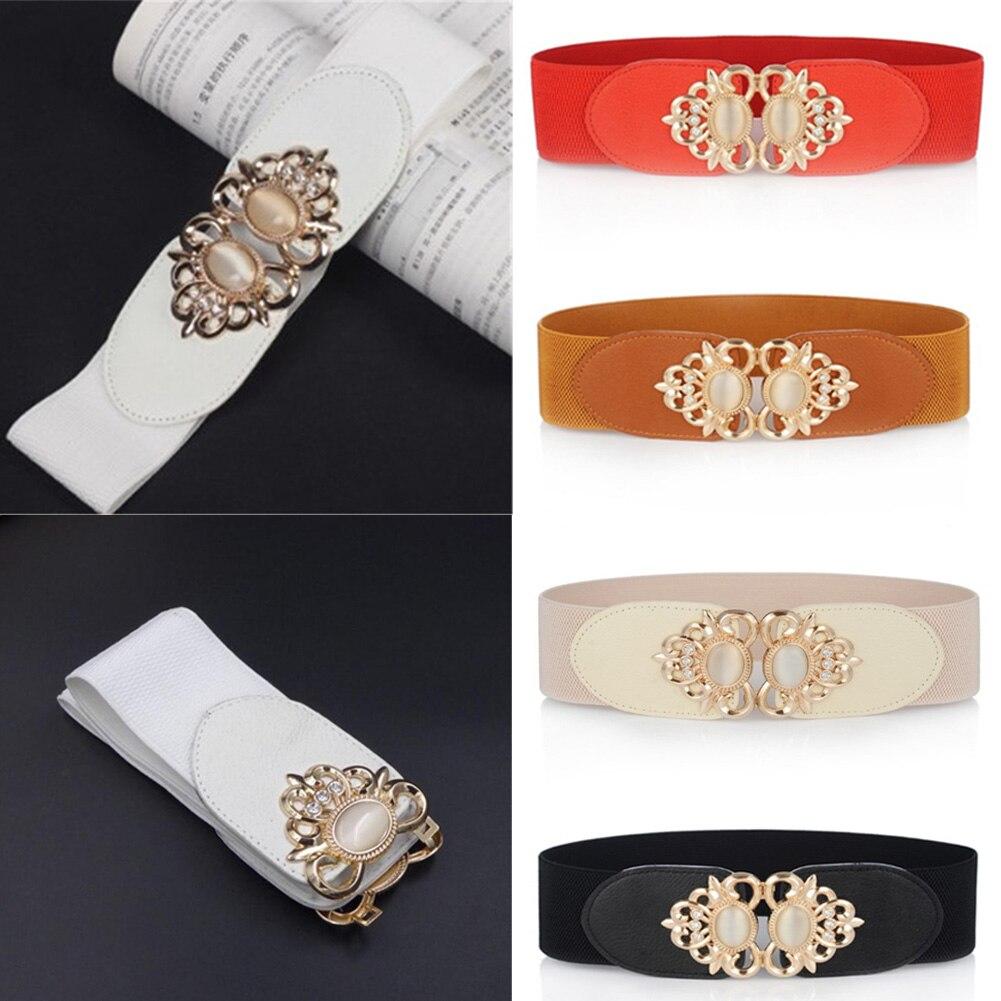 YJSFG HOUSE Women Fashion Cummerbunds Diamante Wide Waist Belt Vintage Elastic Stretch Corset Buckle Waistband PU Accessories