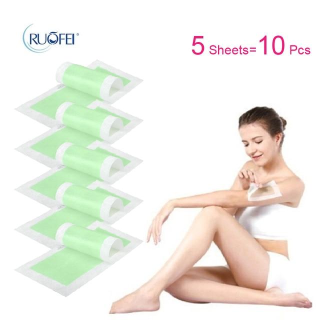 10 pcs = 5 arkusze nowy usuwania depilacji włókniny depilator pasek do depilacji woskiem papieru Pad Patch powiększający do twarzy/nogi/ bikini