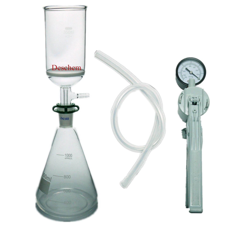 1000 ml, di Aspirazione Unità di Filtrazione, 350 ml Buchner Imbuto, 1L Flask & Mano Pompa A Vuoto-in Imbuto da Articoli per scuola e ufficio su  Gruppo 2