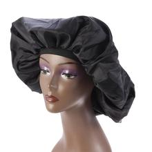 1pc Nightcap Soft Smooth Long Hair Adjule Rubber Sleeping Cap Xl For Home