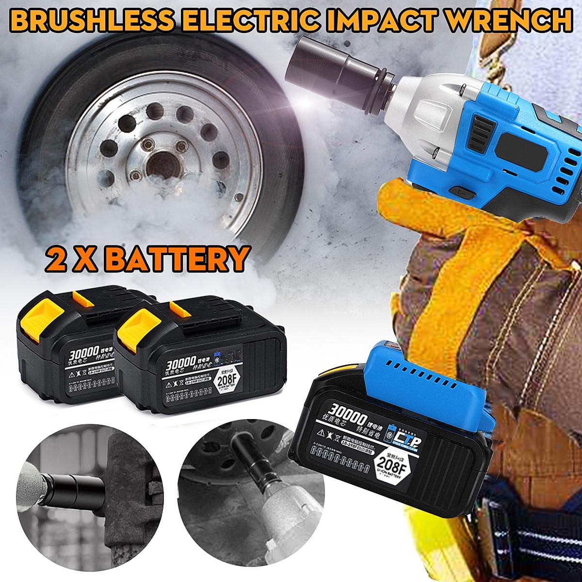 128/188/208F Brushless Sans Fil Clé À Choc Socket Outil Avec 2 Batteries 15000/20000/30000 mah outils à main Perceuse