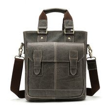 купить 2019 Retro Design Vertical Shoulder Briefcase Genuine Leather Computer Laptop Crossbody Messenger Bags For Men дешево